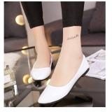 Promo Puding Candy Wanita Berwarna Paten Kulit Menunjuk Sepatu Datar Putih