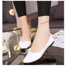 Jual Puding Candy Wanita Berwarna Paten Kulit Menunjuk Sepatu Datar Putih Oem