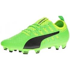 PUMA Mens EvoPOWER Vigor 2 FG Sepatu Sepak Bola, Green Gecko-Puma Black-Safety Kuning, KAMI-Internasional