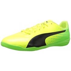 PUMA Mens EvoSPEED 17.4 Sepatu Sepak Bola IT, Keselamatan Kuning-Puma Black-Green Gecko, KAMI-Internasional