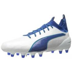 PUMA Mens EvoTOUCH 1 FG Sepatu Sepak Bola, Puma White-True Blue-Blue Danube, KAMI-Internasional