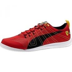 PUMA Mens Tech Everfit Ferrari 10 Lace-Up Fashion Sneaker, Hitam/ROSSO CORSA, 9.5 M US-Intl
