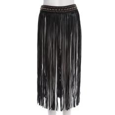 Punk Metal Rhinestone Decoration Tassel Snap Fastener Skirt Belt For Women - intl