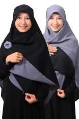 Hijab - Kerudung Segi Empat - Hijab Syari Bolak Balik Pure Syaree Hitam - Abu Abu