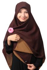 Hijab - Kerudung Segi Empat - Hijab Syari Bolak Balik Pure Syaree Coklat Tua - Coklat Muda