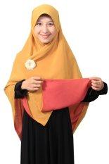 Hijab - Kerudung Segi Empat - Hijab Syari Bolak Balik Pure Syaree Merah bata - Kuning Kunyit