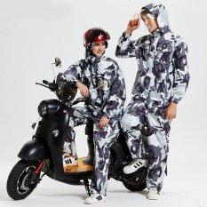 Harga Termurah Puriss Kamuflase Jas Hujan Split Rain Coat Pants Set Transparan Big Hat Motor Seragam Outdoor Poncho Grey