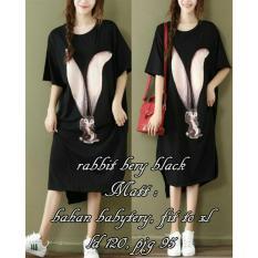 PusatFashion Dress Casual Wanita Rabbit - Black