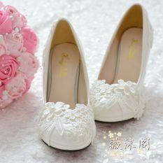 Putih Bertumit Tinggi Mutiara Renda Sepatu Peernikahan Sepatu Pernikahan 4 5Cm Dengan Tinggi Other Diskon