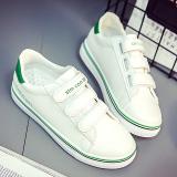 Jual Putih Korea Fashion Style Kulit Perempuan Datar Sepatu Sepatu Sneakers Velcro Kanvas Sepatu Putih Dan Hijau Antik