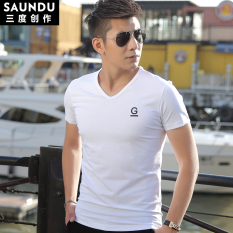 Sederhana Modal Putih Kerah V Baju Kaos Kaos (Putih)