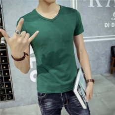 T-shirt Musim Panas Putih Baju Dalaman Warna Solid Leher Bulat (V-neck berwarna hijau gelap lengan pendek)