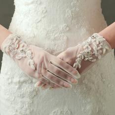 Putih pengantin renda ayat pendek gaun pengantin sarung tangan sarung tangan