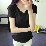 Spesifikasi T Shirt Hitam Wanita Gaya Korea Hitam Hitam Dan Harganya