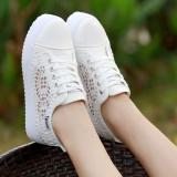 Toko Putih Perempuan Remaja Siswa Kasual Sepatu Kain Sepatu Jaring Putih Lengkap