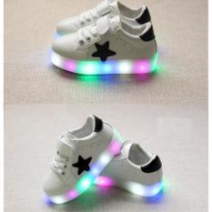 PUTIH Sepatu Anak LED Nyala Lampu Sekolah Main Casual Sneaker Olahraga Jalan Sepatu Anak Pria Wanita Laki Perempuan Cowok Cewek Kado Ulang Tahun