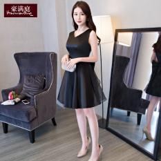 Spek Gaun Pesta Wanita Hitam Model Pendek Hitam Hitam Tiongkok