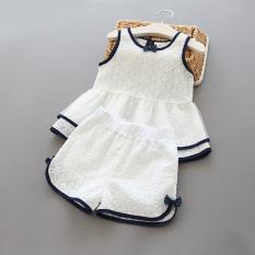 Jual Putri Katun Model Musim Panas Baru Atasan Mini Berongga Bordir Putih Jas Original