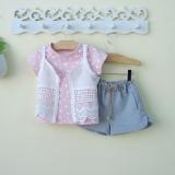 Jual Pakaian Anak Perempuan Putri Lengan Pendek Celana Pendek Musim Panas Merah Muda Polka Dot Lengan Pendek Rompi Tiga Potong 17209 Oem