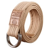 Jual Beli Online Q Shop Canvas Belt Double D Ring Buckle Unisex Casual Designed For Youthful(Khaki) Intl