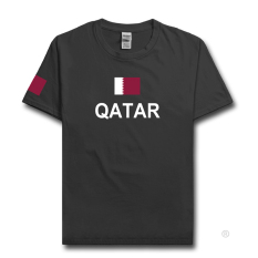 Qatar Qatar Qatari T Shirt Man Jerseys T-Shirt Tees Gyms Tops (Warna Arang)