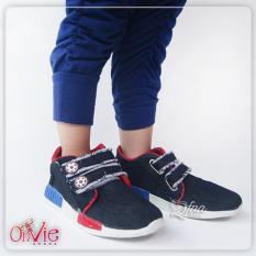 Qfaa-Sepatu Kets Jeans Anak  prepet Hitam
