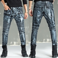 QHEO Merek 2017 Fashion Jeans Men's Denim Celana High-end Brush Lapisan Cat Golden Lokomotif Jeans-Silver -Intl