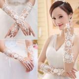 Beli Sarung Tangan Pengantin Berlian Imitasi Bunga Renda Hiasan Pesta Pernikahan Qiaosha Kredit