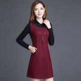 Beli Korea Fashion Style Slim Lengan Panjang Setengah Panjang Model Gaun Rok Dalaman Anggur Merah Dengan Kartu Kredit