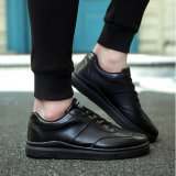 Miliki Segera Qizhef Pria Fashion Renda Up Murni Santai Warna Sepatu Kulit Hitam Intl