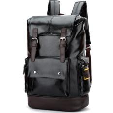 Spesifikasi Qizhef Pria Fashion Murni Warna Pu Kulit Fashion Travel Bag Black Intl Terbaru