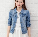 Jual Cepat Qizhef Wanita Fashion Nyaman Lengan Panjang Slim Denim Jaket Biru Muda Intl