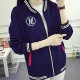 Qizhef Wanita Memakai Pakaian Tipis Kuanqiu Zipper Cardigan Jaket Baseball Jaket Blue Intl Murah