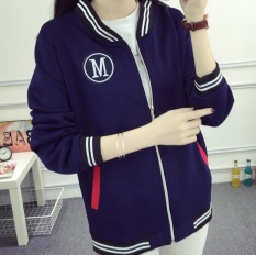 Promo Qizhef Wanita Memakai Pakaian Tipis Kuanqiu Zipper Cardigan Jaket Baseball Jaket Blue Intl Qizhef
