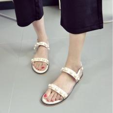 QQ Terkena Toe Flat Sandal Sepatu Wanita Putih-Intl