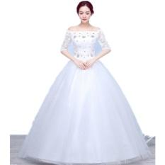 Jual Kualitas O Leher Lengan Setengah Putih Pernikahan Gaun Pengantin Pernikahan Rok Princess Vestidos De Novia Gaun Bola Intl Import