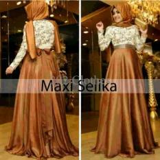 Queen Baju Maxi Dress Selinka Gold Brokat- Baju Pesta Brukat Murah