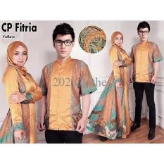 Queen Couple Batik Muslim- Sarimbit Couple- Batik Couple Gamis Gold Fitria