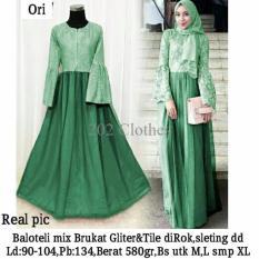 Queen Maxi Dress Kebaya Brukat Baju Muslim Pesta Kebaya Brukat Linia Hijau