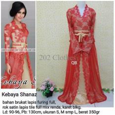 Queen Maxi Dress Kebaya Shanaz Merah- Baju Pesta Brukat