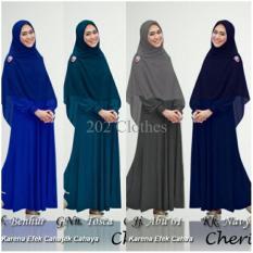 Queen New ORI Baju Gamis Syari Polos Oki- Gamis Wanita Muslim- Gamis Jersey XL [SALE