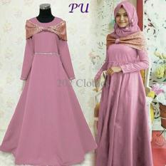 Queen New ORI Maxi Dress Brukat Gliter Gaun Pesta Modern- Kebaya Brukat Mina Pink