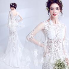 Queen Seksi Tipis Model Menakjubkan Mempelai Wanita Gaun Pengantin Gaun (Putih) Baju Wanita