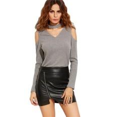 Cepat Penjualan EBay Seksi Gaya Eropa dan Amerika Seksi Modis Leher-v Leher Leher dan Bahu Lengan Panjang Kaus Blus 4 Warna 5 Meter-Internasional