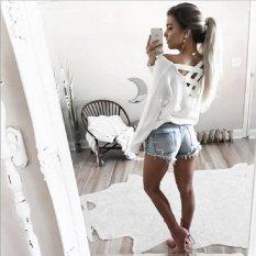 Cepat Menjual Melalui EBay Amazon Wish Hot Spring dan Summer Back Cross Belt Seksi Loose Shirt-Intl