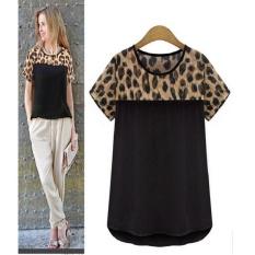 Cepat Menjual Melalui EBay Baru Eropa dan Amerika Leopard Stitchingshort Lle Loose T-shirt & Nbsp;-Intl