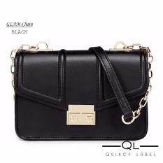 Quincy - GLAM Chain PU Leather Women Bag Import / tas pesta selempang wanita - Hitam
