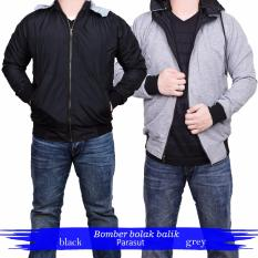 Quincy Jacket Parasut Bolak-Balik - Black - Grey