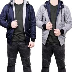 Toko Jual Quincy Jacket Parasut Bolak Balik Navy Grey