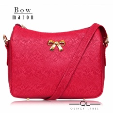 Quincy Label Bow Women Sling Bag / Pu Leather - Maroon